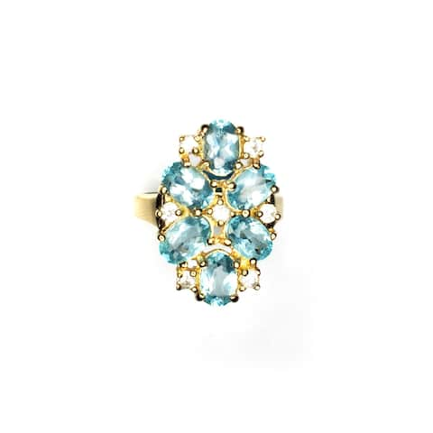 Evaluesell Apatite White Zircon Gemstone Ring
