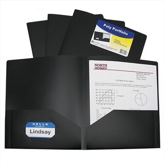 C-Line Products Two-Pocket Heavyweight Poly Portfolio Folder Black