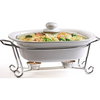 Palais Dinnerware Buffet Double Covered Casserole with Chrome Stand (2.5 Quart Square, Chrome Stand)