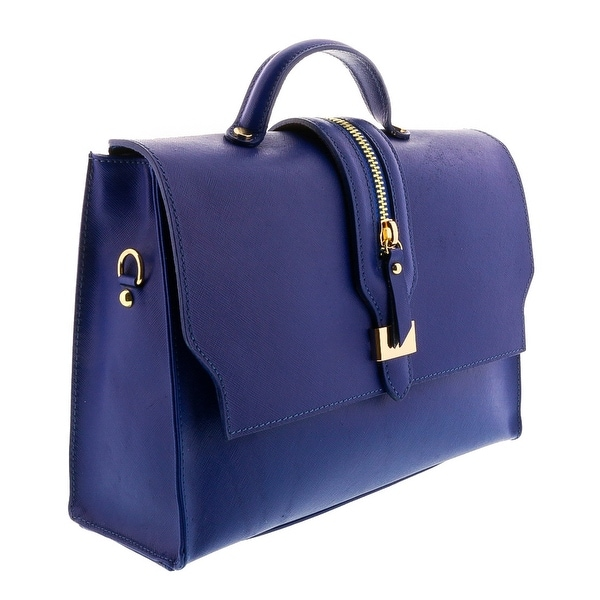 HS2056 BLU QUATRA Blue Leather Satchel/Shoulder Bag - 12-9-4