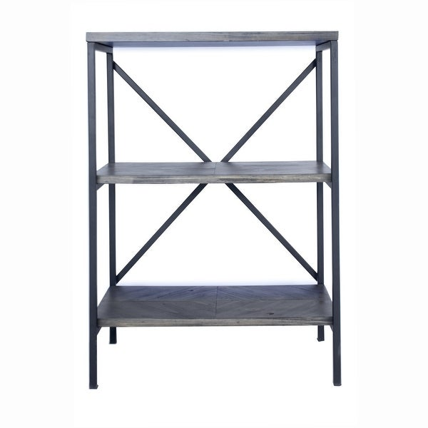"""30.25"""" Grey Metal, Wood, and MDF Bookcase with 3 Shelves"""