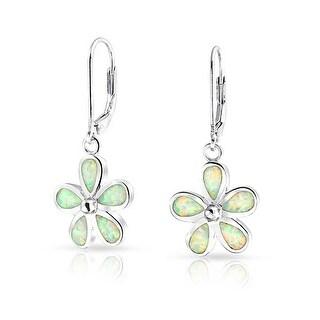 Link to Flower Created Opal Plumeria Drop Leverback Earrings Sterling Silver Similar Items in Bracelets