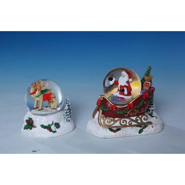 "Set of 2 Santa and Reindeer Miniature Christmas Water Globes 4"" - WHITE"