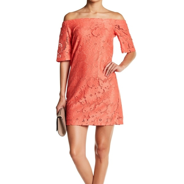 Donna Morgan Tea Rose Orange Women's Size 10 Lace Shift Dress
