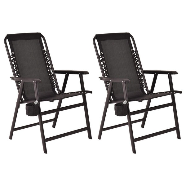 Shop Costway Set Of Two Folding Outdoor Arm Chair Steel