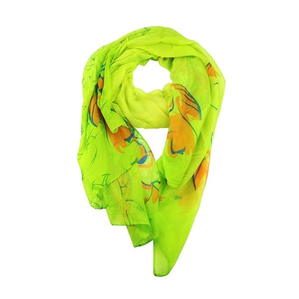 Women's Spring Colors Rose Printed Soft Large Scarf Wrap