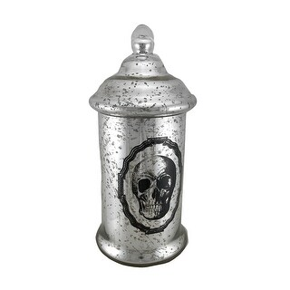 16 1/2 Inch Tall Silver Mercury Glass Skull Apothecary Jar