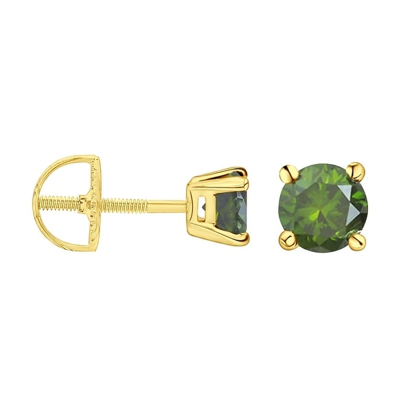 Prism Jewel Round Brilliant Cut Green Color Diamond Screw Back Stud Earring