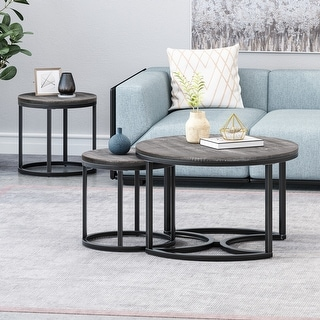 Link to Gerrish Modern Industrial Coffee Table Set by Christopher Knight Home Similar Items in Living Room Furniture