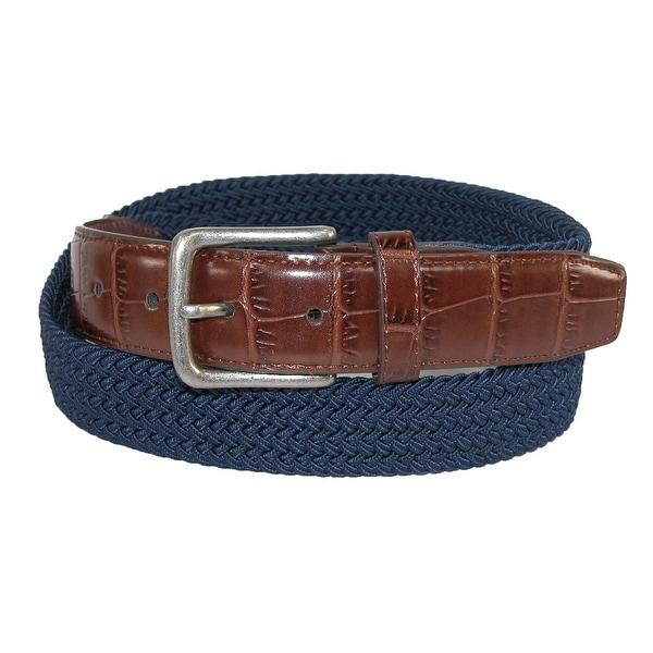CTM® Men's Elastic Braided Golf Belt with Croco Print End Tabs