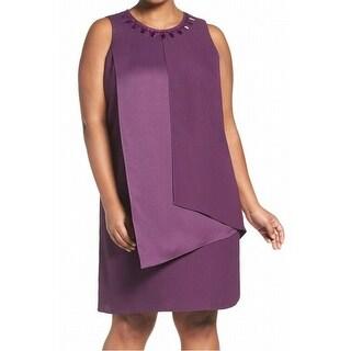 Adrianna Papell NEW Purple Womens 18W Plus Jewel Flyaway Shift Dress
