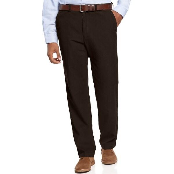 Haggar 14 Wale Classic Fit Comfort Waist Corduroy Pants Dark Brown 34 x 32