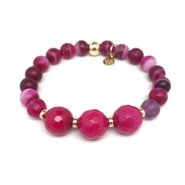 "Fuchsia Agate Trinity 7"" Bracelet"