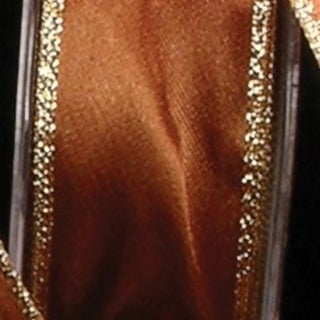 """Amber Satin with Gold Woven Edge Craft Ribbon 1.5"""" x 54 Yards"""