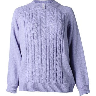 Karen Scott Womens Plus Cable Knit Marled Pullover Sweater