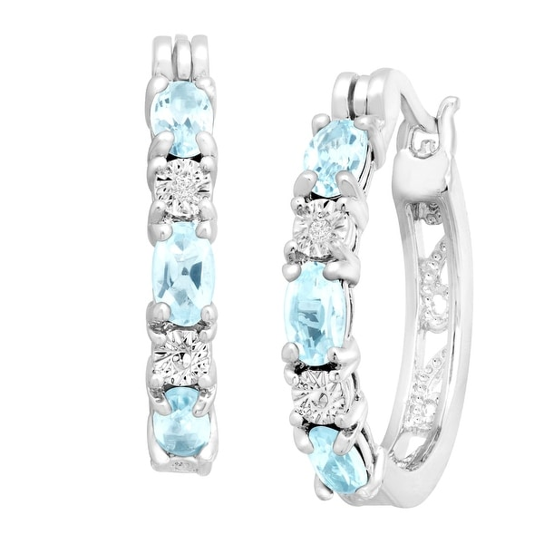 1 5/8 ct Natural Sky Blue Topaz Hoop Earrings with Diamond Accents, Platinum-Plated Brass