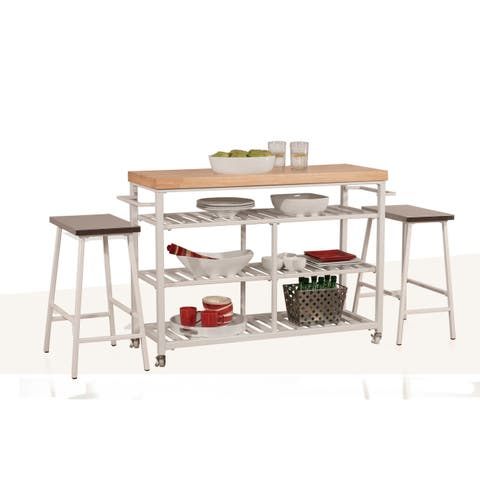 Hillsdale Furniture 4701-8N3 Kennon 3 Piece Metal Framed Wood Top Island Cart Set with Casters
