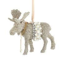 """Pack of 3 Platinum Glittered Glass Vintage Glamour Moose Ornaments 5.5"""" - WHITE"""