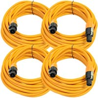 SEISMIC AUDIO 4 Pack of 12 Gauge 25' Orange Speakon to Speakon Speaker Cables