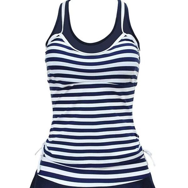 276dd112e7b2b Shop Ladada Blue White Womens Size 3X Striped Tankini Top Swimwear - Free  Shipping On Orders Over $45 - Overstock - 26995647
