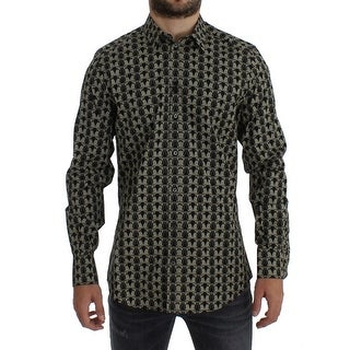 Dolce & Gabbana Black Beige Owl GOLD Slim Fit Casual Shirt