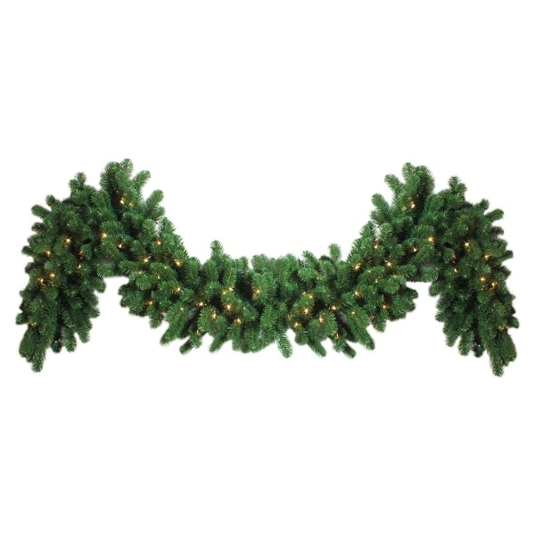 "9' x 14"" Pre-Lit Olympia Pine Artificial Christmas Garland - Clear Lights"