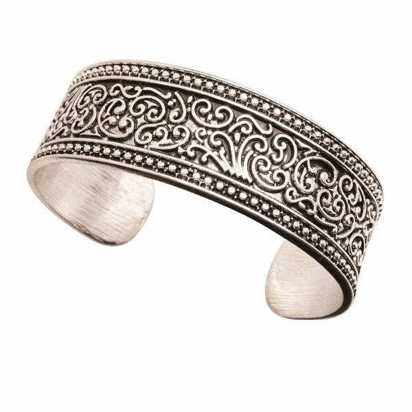 "Women's Vintage Scroll Raised Border Cuff Bracelet - Metal - 1"" Wide - Silver"