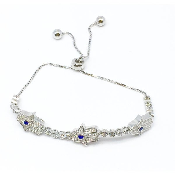 925 Sterling Silver Adjustable Hamsa Tennis Bracelet With Blue Cubic Zirconia