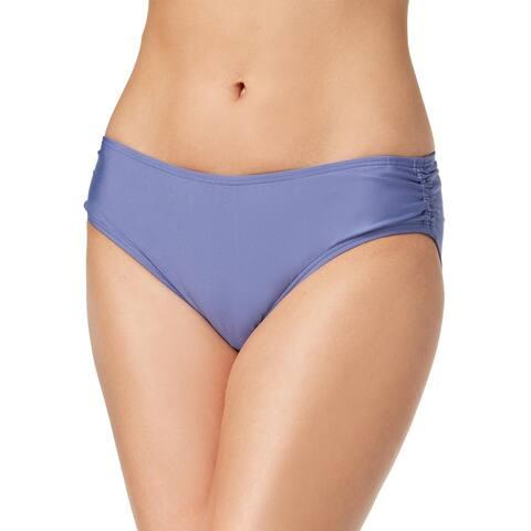 Calvin Klein Women's Shirred Hipster Bikini Bottoms, Anthracite, Large