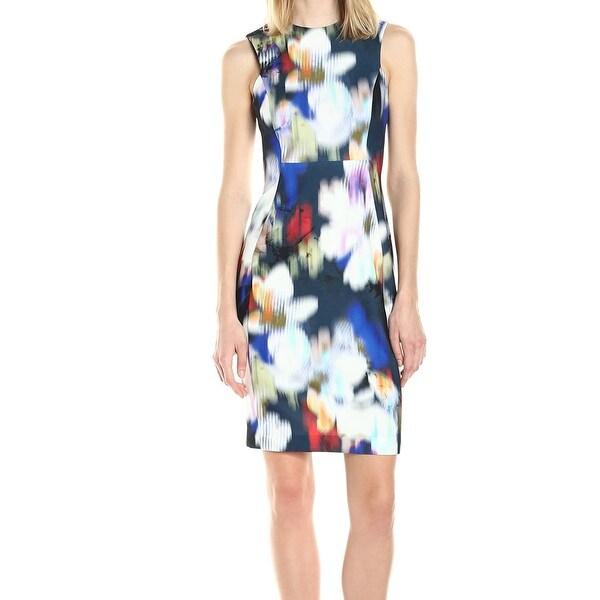 e6562f4e Shop Calvin Klein NEW Blue Womens Size 12 Floral Print Scuba Sheath ...