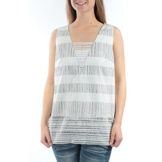Womens Black, White Striped Sleeveless Square Neck Casual Top Size M