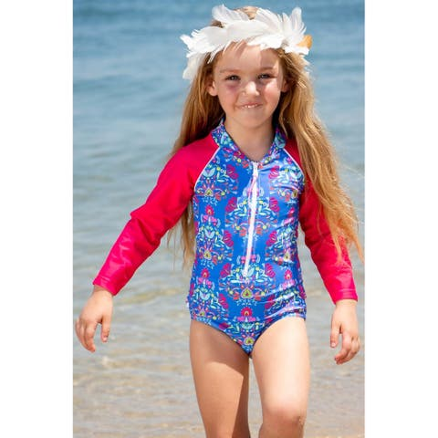 Sun Emporium Frida Print Long Sleeve Swimsuit Baby Girls