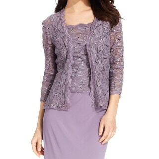Alex Evenings NEW Purple Womens Size Small S Sequin Lace Twinset