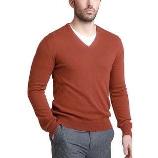 Bloomingdales Mens 2-Ply Cashmere V-Neck Sweater Cinnamon Knitwear