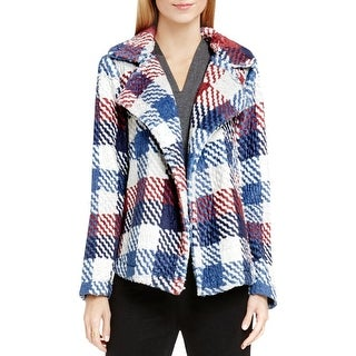 Two by Vince Camuto Womens Coat Plaid Faux Fur