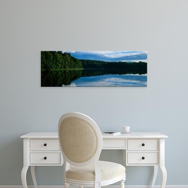 Easy Art Prints Panoramic Images's 'Reflection of trees and clouds in lake, Lake Czos, Mragowo, Poland' Canvas Art