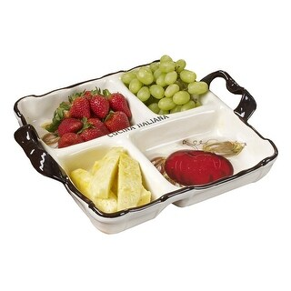 Cucina Italiana Ceramic Divided Serving Platter Appetizer Dish 4 Section 15 x 15 Inches, White - 15x 15 x 3 inches