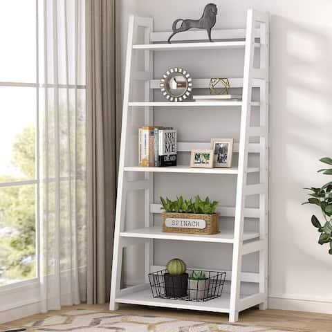 5-Tier Ladder Bookshelf Bookcase, 5 Shelf Ladder Shelves for Living Room