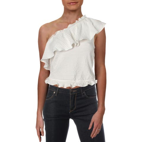 French Connection Womens Casual Top One-Shoulder Ruffled - M