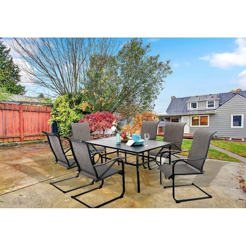 """PHI VILLA 7-Piece Patio Dining Set including 60""""x38"""" Slatted Metal Table with 1.56"""" Umbrella Hole and 6 Spring Motion Chairs"""