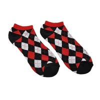 Unisex Argyle Heavy Ankle Socks Black/Red/Grey