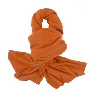 Brunello Cucinelli Orange Cashmere Seamless Tricot Knit Scarf