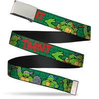"Blank Chrome 1.0"" Buckle Classic Tmnt Group Pose2 Tmnt Green Brick Wall Web Belt 1.0"" Wide - S"