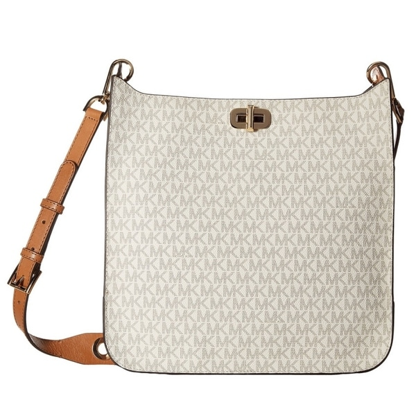 a34d2110e0fe Shop MICHAEL KORS Sullivan Signature Large Vanilla N S Messenger Bag ...
