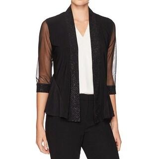 R&M Richards Black Womens Size Large L Glitter-Trim Illusion Jacket
