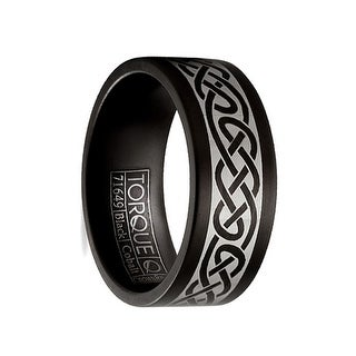 Matte Finish Torque Black Cobalt Men's Wedding Band with Center Laser Celtic Design by Crown Ring - 9 mm (Option: 7.5)