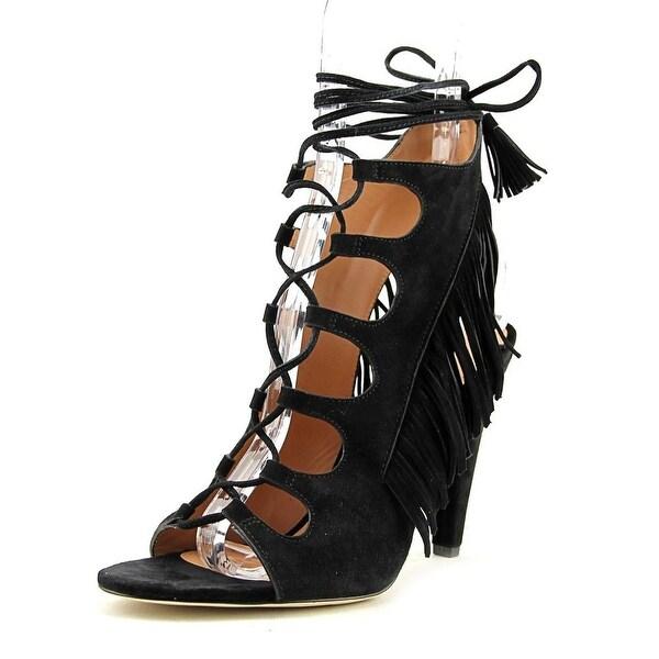 Sigerson Morrison Marita Women Open Toe Suede Black Platform Sandal