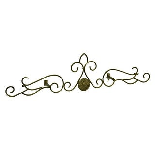 Bronze Finish Medallion Scroll Metal Drapery Crown/Wall Plaque 23 in.