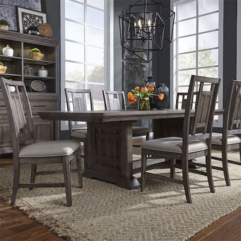 Copper Grove Letampon Wirebrushed Aged Oak 7-piece Trestle Table Set