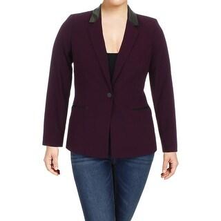 Calvin Klein Womens Petites One-Button Blazer Faux Leather Trim Professional